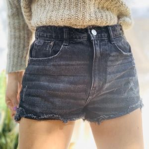 Zara Shorts - Zara TFR Faded Distressed Black Shorts